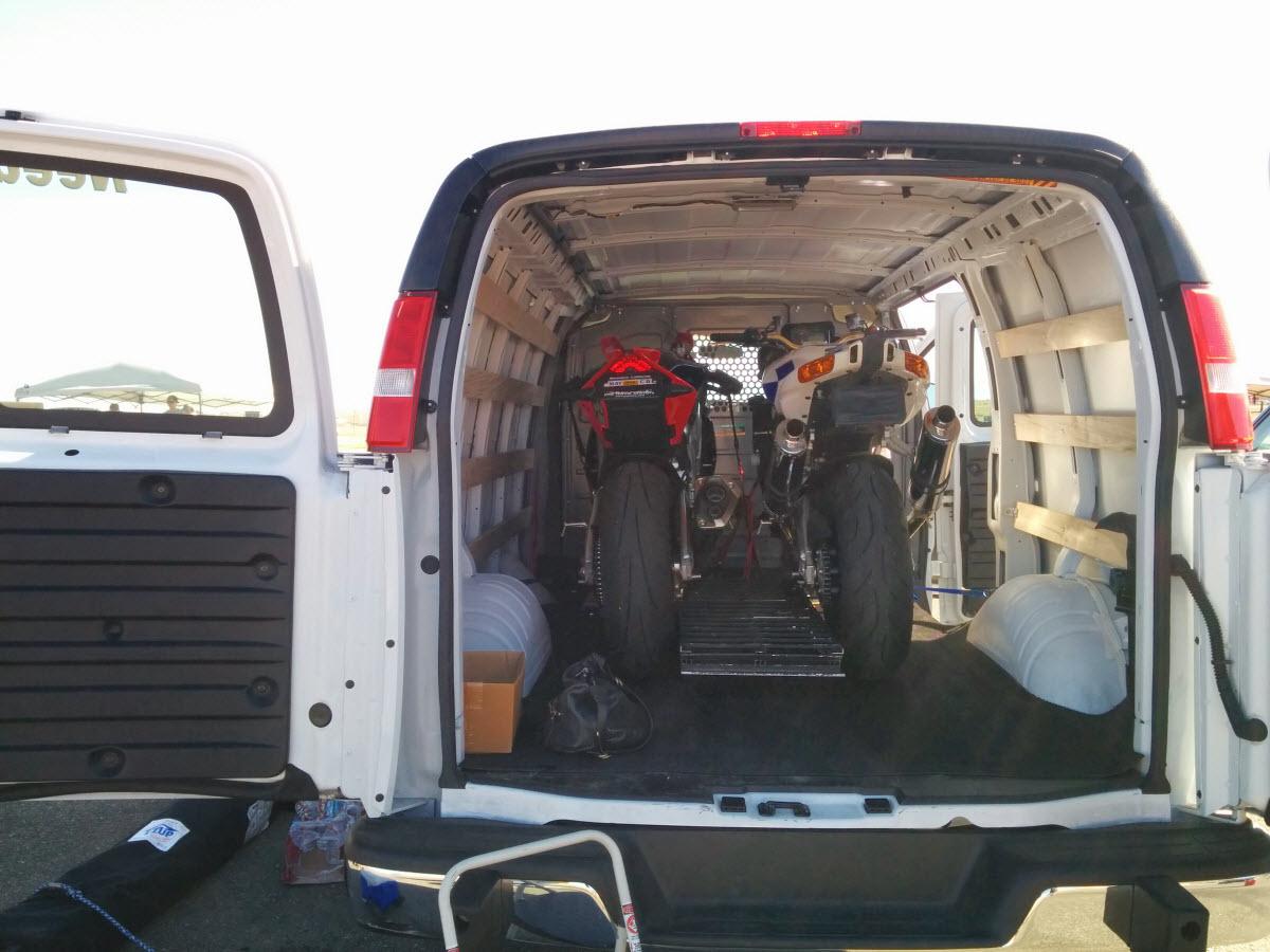 Bikes inside cargo van