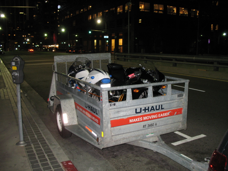 Rented U-Haul 5x9 ramp trailer