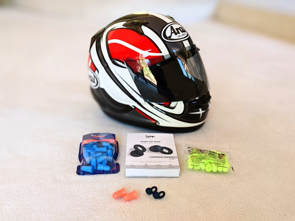 ear plugs and helmet